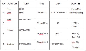 Jadwal Internal Audit
