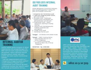 Brosur Training ISO 9001 2015 internal auditor dan ISO 19011 2018 Management system auditor